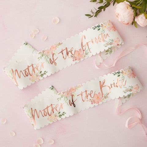 Mother of the Bride and Groom Sash Set/2 - Floral Hen Party - The Pretty Prop Shop Parties, Auckland New Zealand