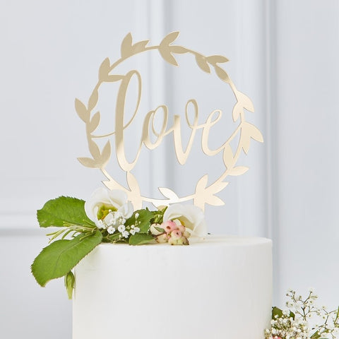 Gold Acrylic Love Cake Topper - The Pretty Prop Shop Parties, Auckland New Zealand