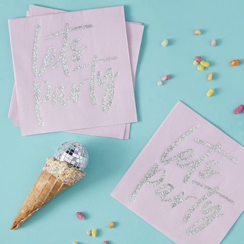 Iridescent Foiled 'Lets Party' Paper Napkins - The Pretty Prop Shop Parties, Auckland New Zealand