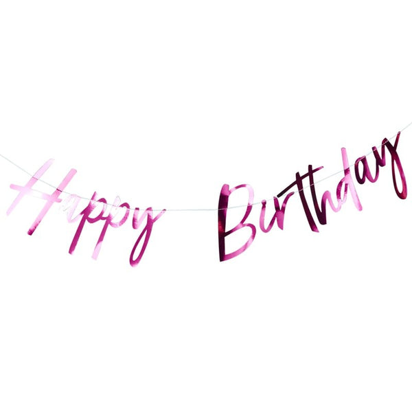 Happy Birthday Bunting - Hot Pink - The Pretty Prop Shop Parties, Auckland New Zealand