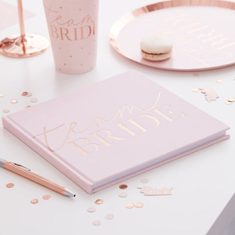 Blush Velvet Team Bride Guestbook - Blush Hen Party - The Pretty Prop Shop Parties, Auckland New Zealand