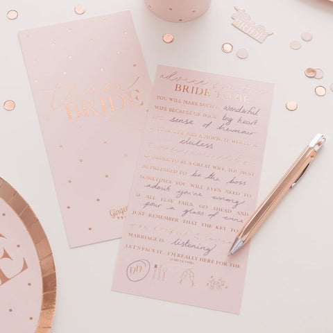 Hen Party Advice Cards - Blush Hen Party - The Pretty Prop Shop Parties, Auckland New Zealand