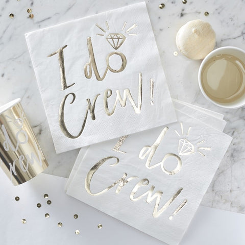 I Do Crew Paper Napkins - Gold - The Pretty Prop Shop Parties, Auckland New Zealand