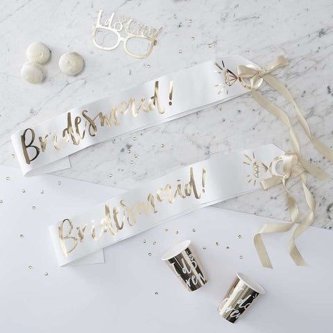 I Do Crew Bridesmaid Sash Set/2 - White and Gold - The Pretty Prop Shop Parties, Auckland New Zealand