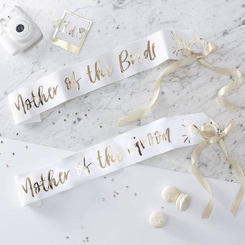 I Do Crew Mother of the Bride and Groom Sash Set/2 - White and Gold - The Pretty Prop Shop Parties, Auckland New Zealand