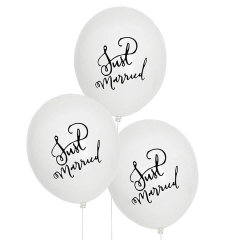 Just Married Balloon - White/Black - The Pretty Prop Shop Parties, Auckland New Zealand