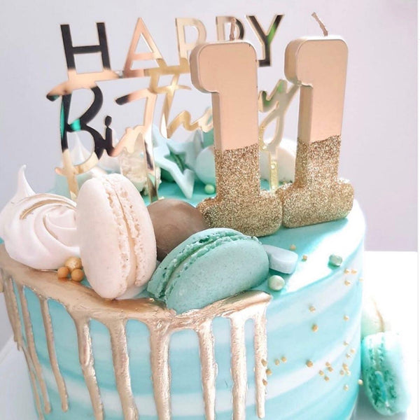 Happy Birthday Gold Cake Topper