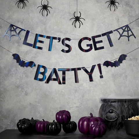 LET'S GET BATTY Iridescent Black Halloween Bunting - The Pretty Prop Shop Parties, Auckland New Zealand