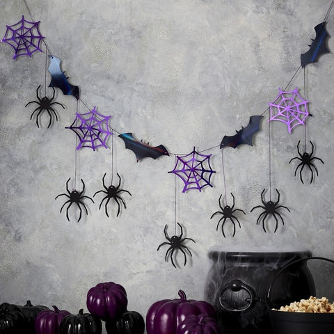 Halloween Spider Web & Bat Hanging Bunting - The Pretty Prop Shop Parties, Auckland New Zealand