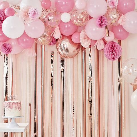 Blush and Peach Balloon & Fan Garland Party Backdrop - The Pretty Prop Shop Parties, Auckland New Zealand