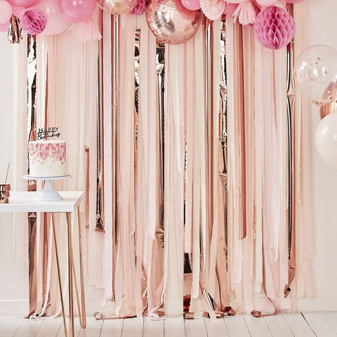 Pink & Rose Gold Metallic Party Streamer Backdrop - The Pretty Prop Shop Parties, Auckland New Zealand
