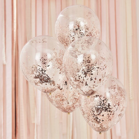 Shredded Confetti Balloons - Rose Gold - The Pretty Prop Shop Parties, Auckland New Zealand