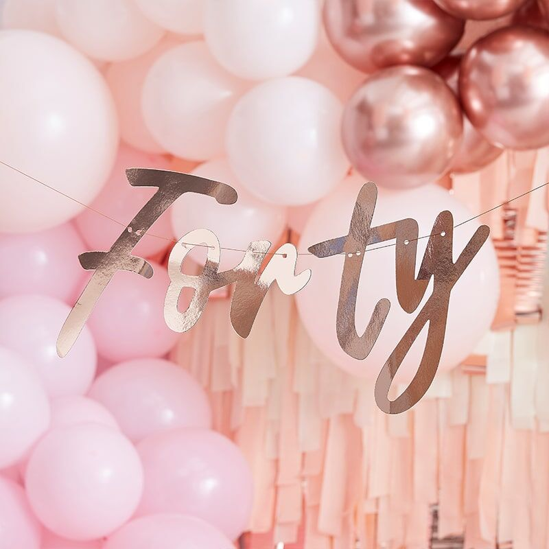 40th Birthday Rose Gold Banner Bunting