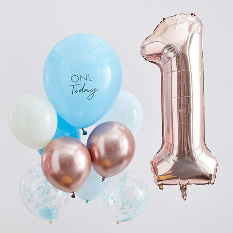 First Birthday Balloons - Blue and Rose Gold