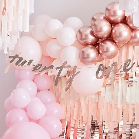 21st Birthday Rose Gold Banner Bunting