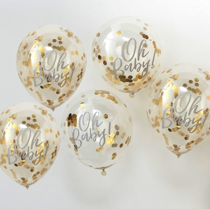 Oh Baby! Printed Confetti Balloons - Gold - The Pretty Prop Shop Parties, Auckland New Zealand
