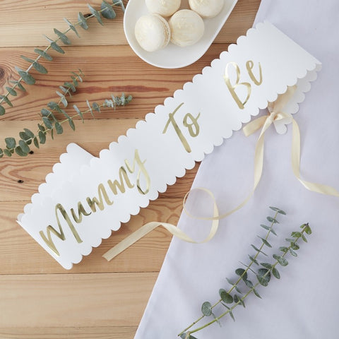 Mummy To Be Sash - White and Gold - The Pretty Prop Shop Parties, Auckland New Zealand