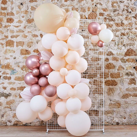 Pampas, White, Peach and Rose Gold Balloon Arch Kit