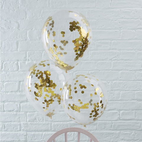 Confetti Balloons - Gold - The Pretty Prop Shop Parties, Auckland New Zealand