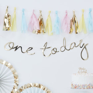 One Today First Birthday Banner