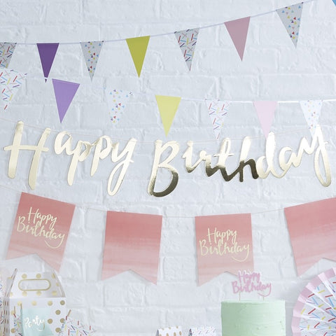 Happy Birthday Bunting - Gold - The Pretty Prop Shop Parties, Auckland New Zealand