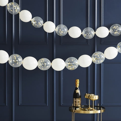 Gold Confetti Link Balloon Garland - The Pretty Prop Shop Parties, Auckland New Zealand