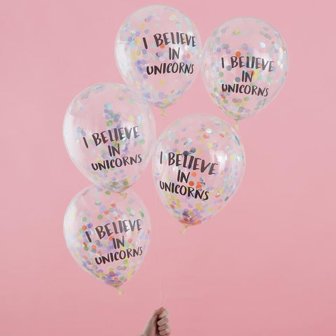 I Believe in Unicorns Confetti Balloons - Pastel Party - The Pretty Prop Shop Parties, Auckland New Zealand