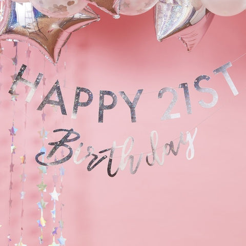 Iridescent Customizable Happy Birthday Milestone Bunting - The Pretty Prop Shop Parties, Auckland New Zealand