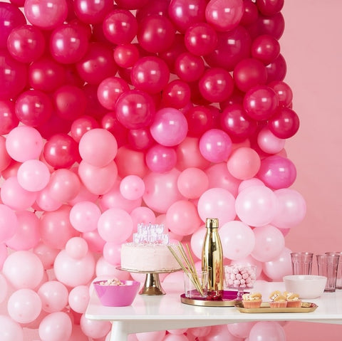 Ombre Pink Balloon Wall Decoration Kit - The Pretty Prop Shop Parties, Auckland New Zealand