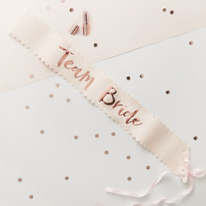 Team Bride Sash Set/6 - Pale Pink and Rose Gold - The Pretty Prop Shop Parties, Auckland New Zealand