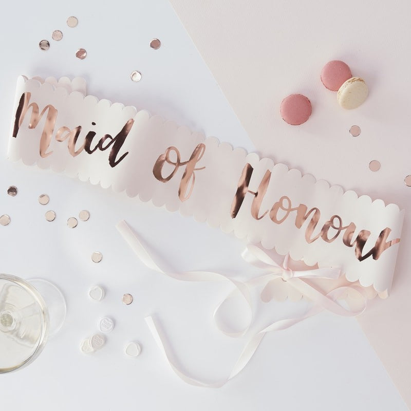 Maid of Honour Sash - Pale Pink and Rose Gold - The Pretty Prop Shop Parties, Auckland New Zealand