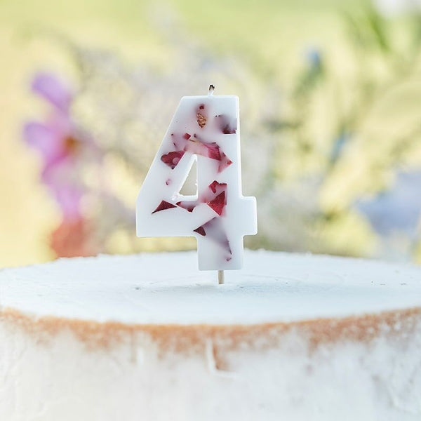 Pressed Petal Number 4 Birthday Cake Candle