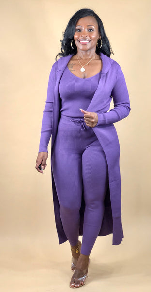 Gabrielle 3 Piece Knit Set (Purple)