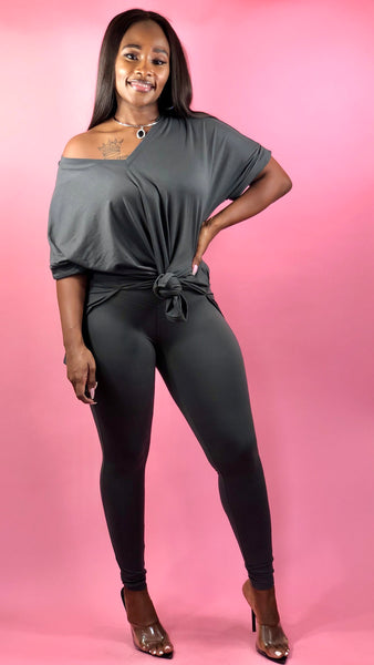 Sassy Moody Legging Set (Ash Gray)