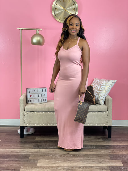 Luxe Racerback Maxi Dress (Pink)