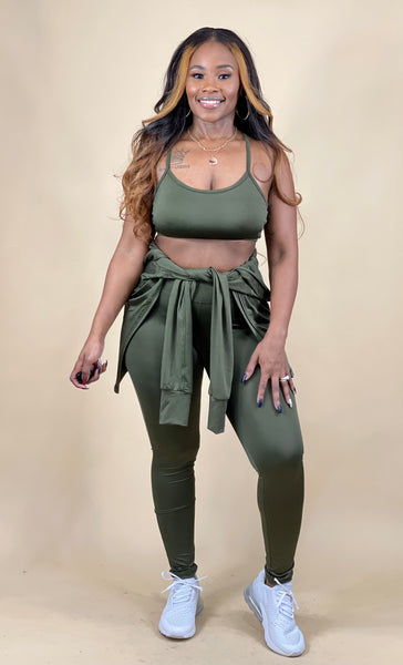 Sporty Girl 4 Piece Active Set (Olive Green)