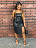 First Impression Beaded Leather Midi Dress (Black)