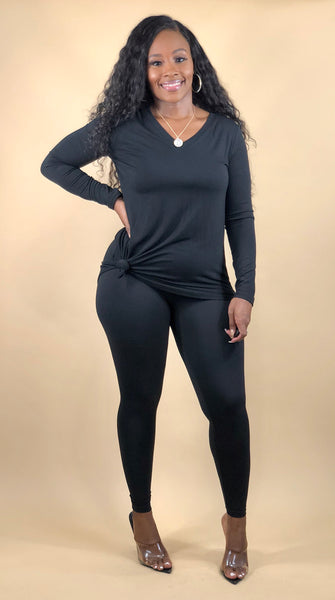 Easy Going L/S Legging Set (Black)