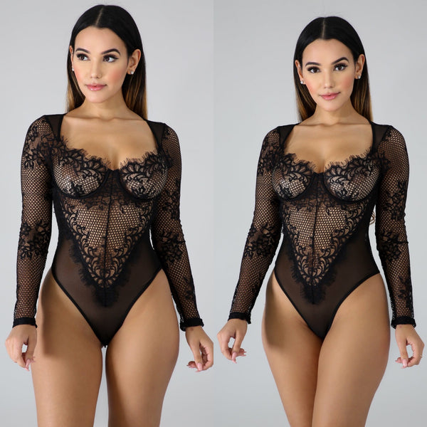 Bare It All Long Sleeve Lace Bodysuit (Black)