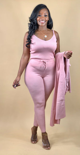 Gabrielle 3 Piece Knit Set (Pink)