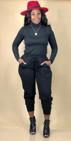 Kerri Turtleneck Jogger Set (Black)