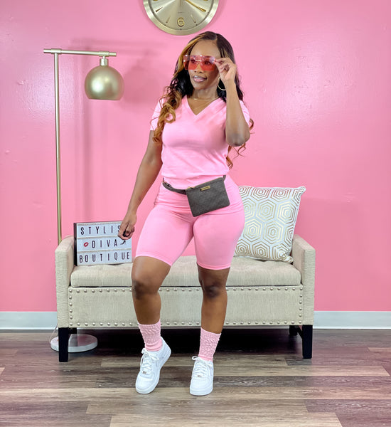 Luxe Chill Sets V Neck (Pink)
