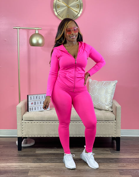 On The Run Chill Legging Set (Bright Pink)