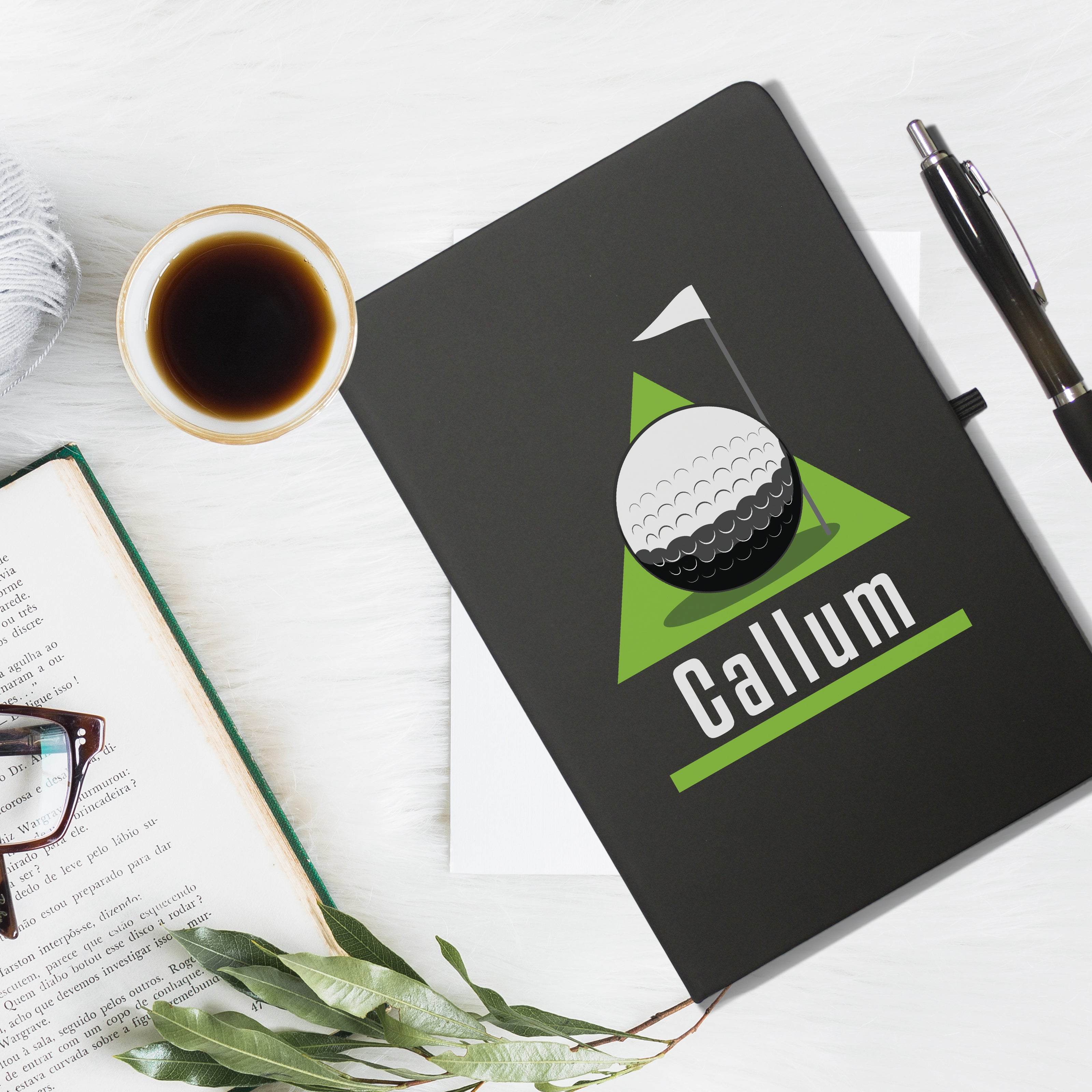 Golf Green Black Notebook & Pen - MyCustomGiftsUK - Best Customized Products