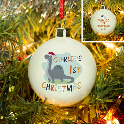 Dinosaur 1st Christmas Bauble - MyCustomGiftsUK - Best Customized Products