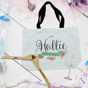 Floral Bridal Party Bag, Flute And Hanger Set