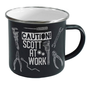 Caution Black Enamel Mug