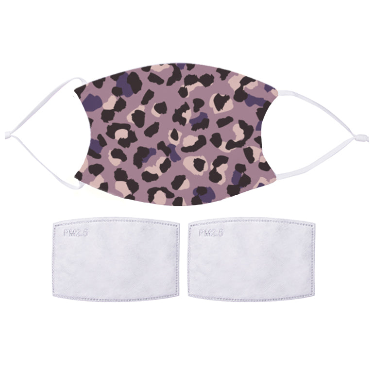 Printed Face Mask - Purple Leopard Pattern Design
