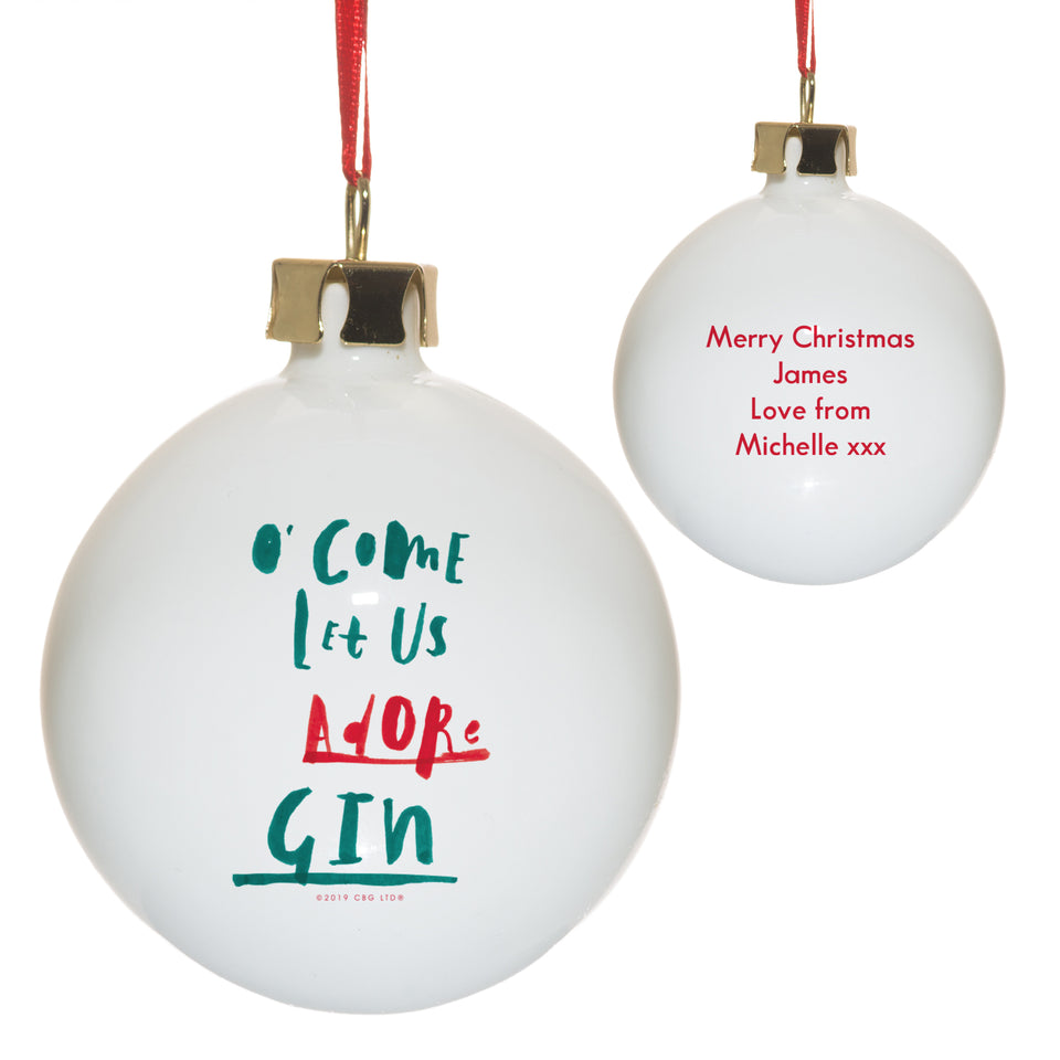 HotchPotch Come Let Us Adore Gin Bauble - MyCustomGiftsUK - Best Customized Products
