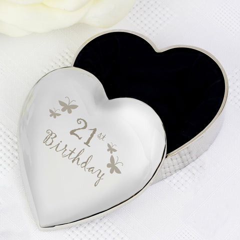 21st Butterflies Heart Trinket Box